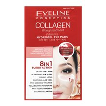 Eveline Collagen Hydrogel Lifting Eye Pads 8in1 Turbo Action 2 pcs mască pentru ochi împotriva ridurilor, umflăturilor și a cearcănelor